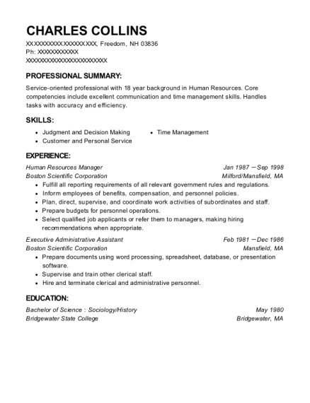 Human Resources Manager resume sample New Hampshire