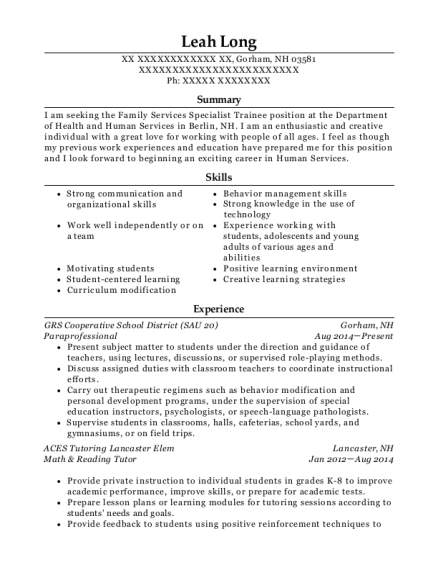 Paraprofessional resume template New Hampshire