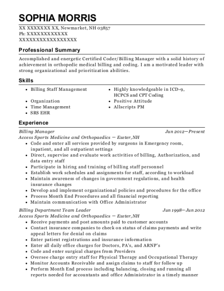 Billing Manager resume template New Hampshire