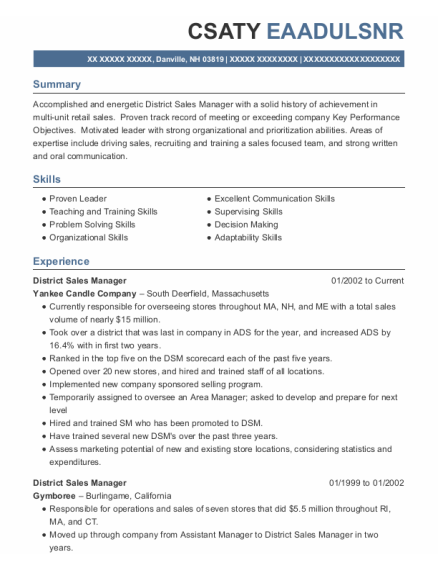District Sales Manager resume sample New Hampshire