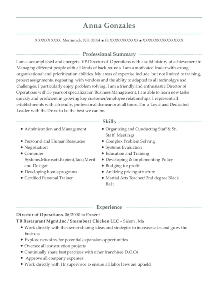 Director of Operations resume template New Hampshire