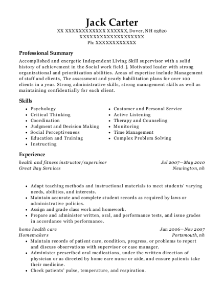 health and fitness instructor resume example New Hampshire