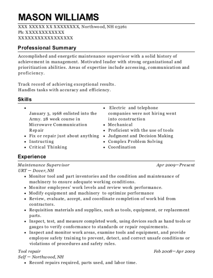 Maintenance Supervisor resume template New Hampshire