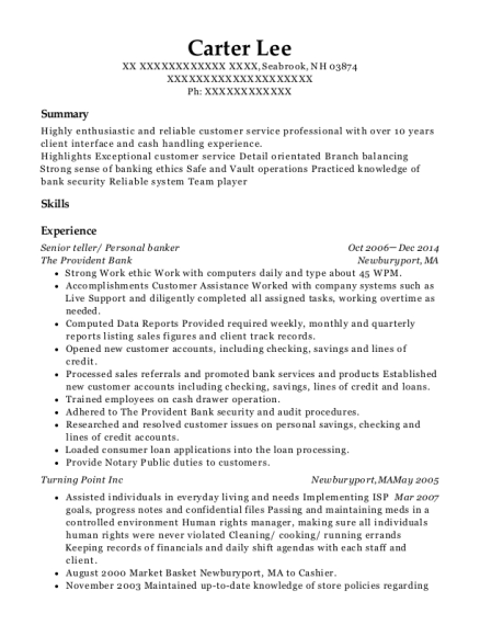 Senior teller resume example New Hampshire