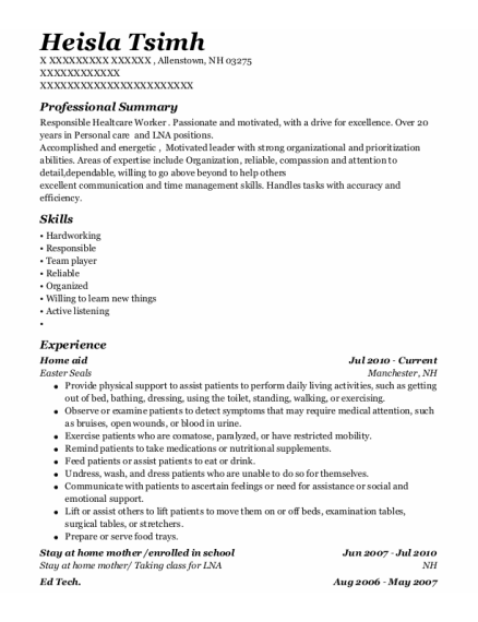 Home Aid resume format New Hampshire