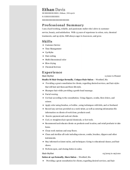 Hair Stylist resume sample New Hampshire