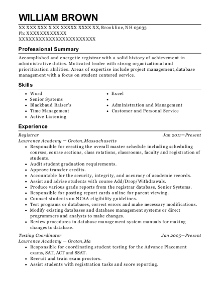 Registrar resume template New Hampshire