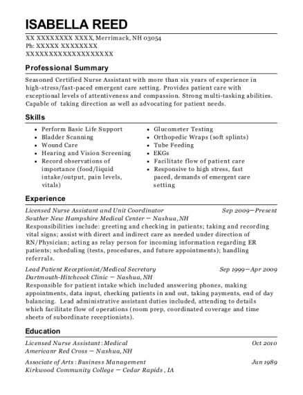 Licensed Nurse Assistant and Unit Coordinator resume example New Hampshire
