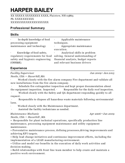 Facility Supervisor resume example New Hampshire