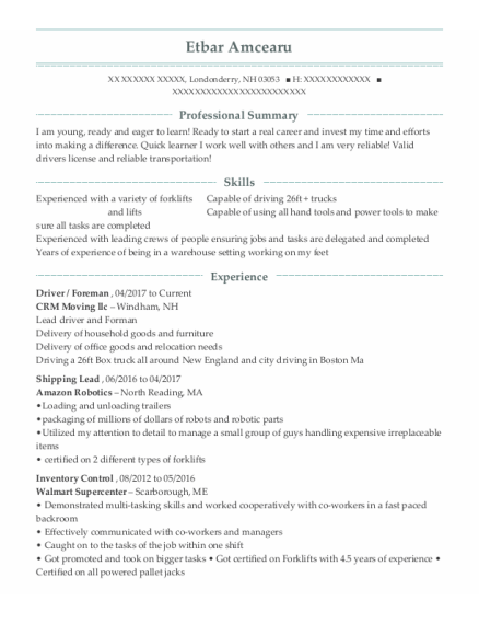Driver resume template New Hampshire