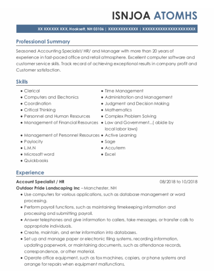 Account Specialist resume example New Hampshire