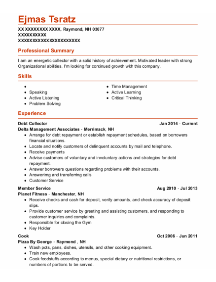 Debt Collector resume format New Hampshire