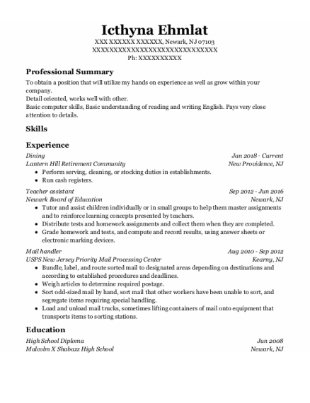 Dining Room Manager resume sample New Jersey