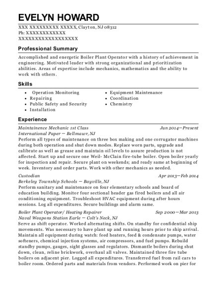 Maintainence Mechanic 1st Class resume sample New Jersey
