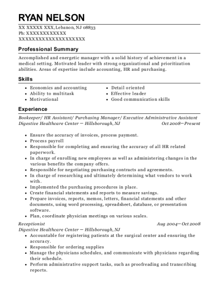 Bookeeper resume template New Jersey