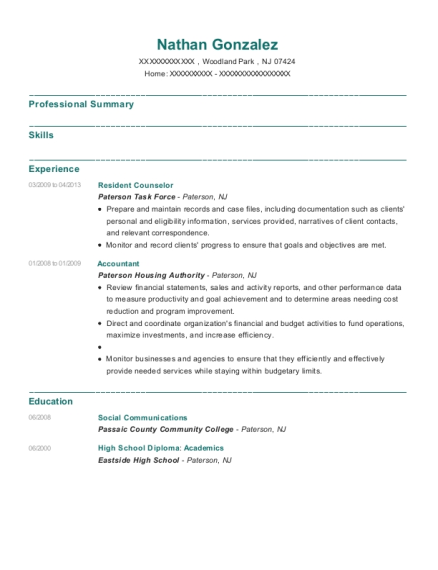 Resident Counselor resume sample New Jersey