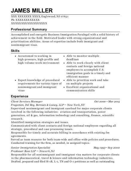Client Services Manager resume template New Jersey