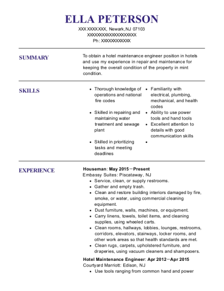 Houseman resume example New Jersey
