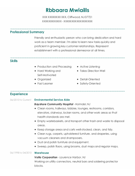 Environmental Service Aide resume format New Jersey