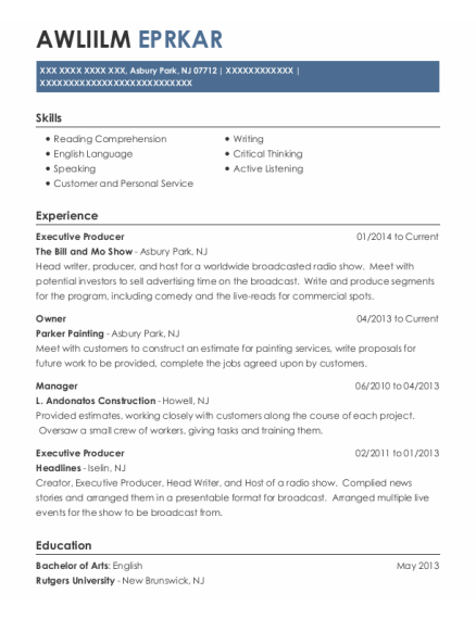 Executive Producer resume template New Jersey