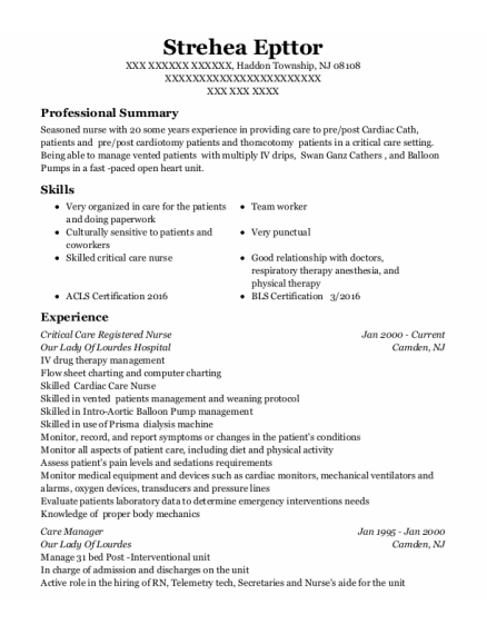 Critical Care Registered Nurse resume template New Jersey