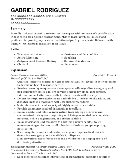 Police Communications Officer resume example New Jersey