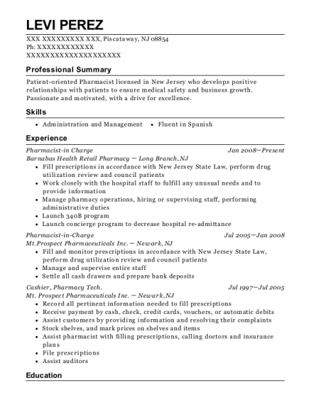 Pharmacist in Charge resume format New Jersey