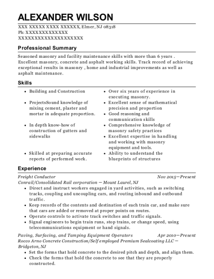 Freight Conductor resume example New Jersey