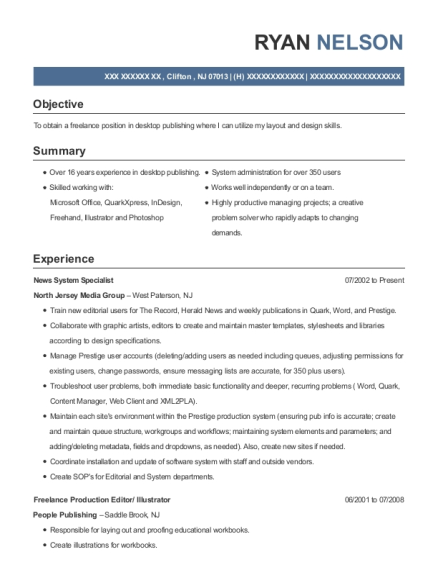 News System Specialist resume sample New Jersey