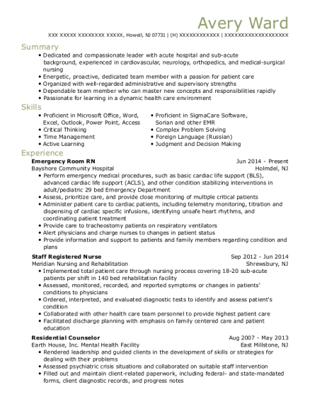 Emergency Room RN resume example New Jersey