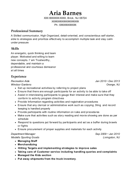 Recreation Aide resume sample New Jersey