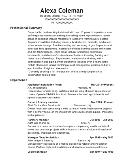 Appliance Installation resume format New Jersey