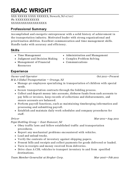 Owner and Operator resume format New Jersey