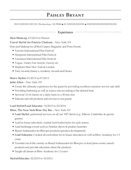 Hair resume example New Jersey