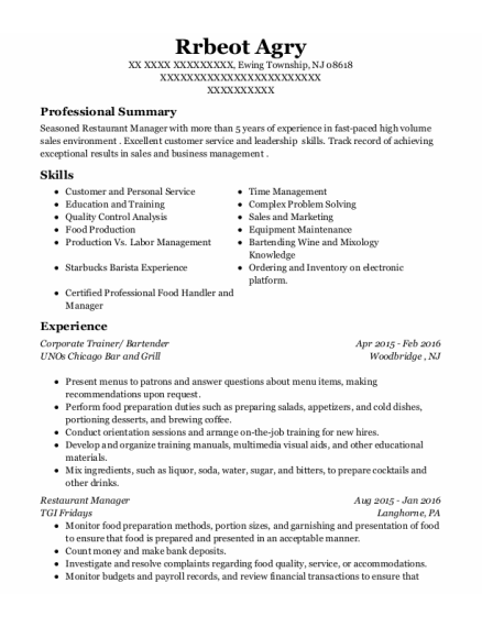 Corporate Trainer resume format New Jersey