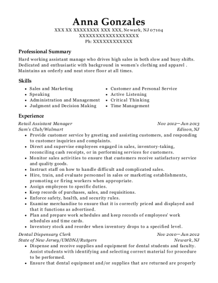 Retail Assistant Manager resume template New Jersey