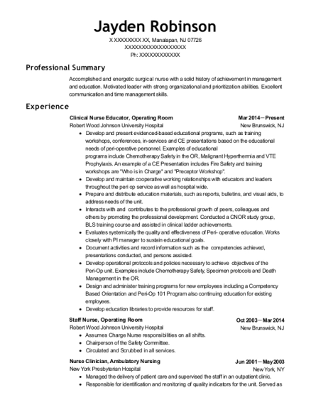 Clinical Nurse Educator resume sample New Jersey