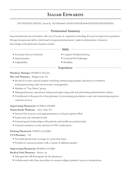 Pharmacy Manager resume example New Jersey