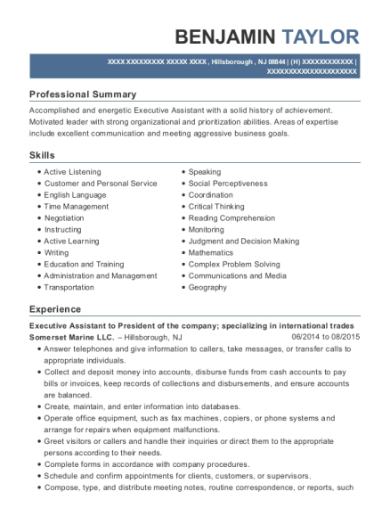 Executive Assistant to President of the company resume sample New Jersey