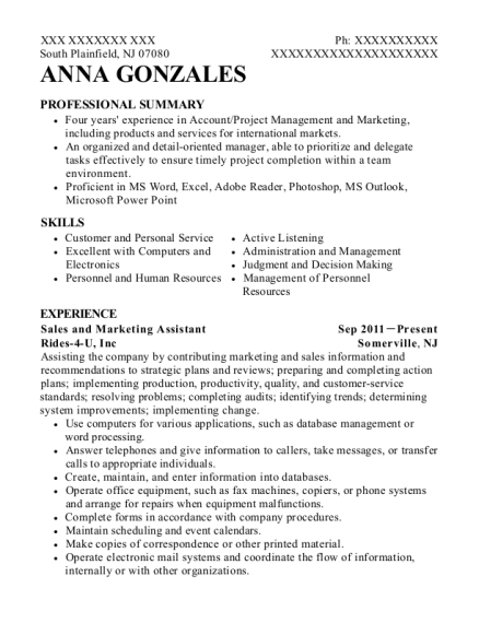 Sales and Marketing Assistant resume template New Jersey