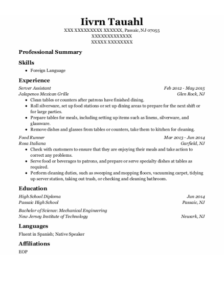 Server Assistant resume format New Jersey
