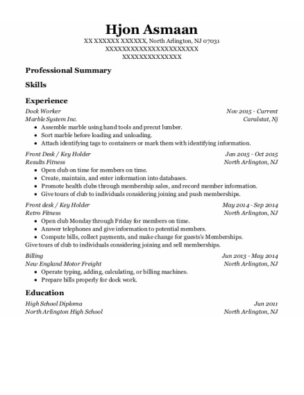 Dock Worker resume sample New Jersey