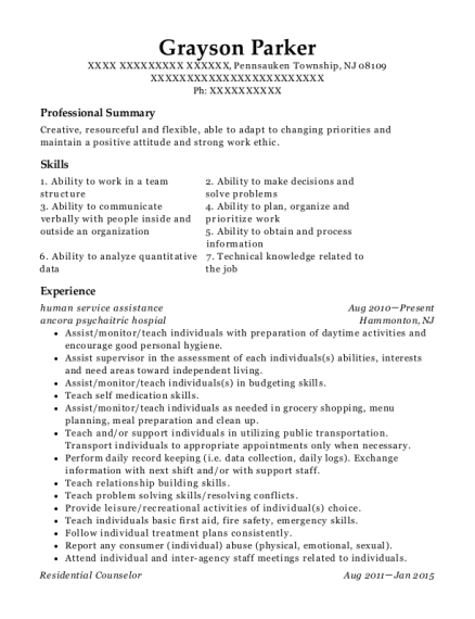 human service assistance resume example New Jersey