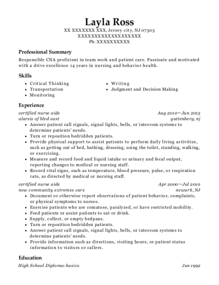 certified nurse aide resume example New Jersey
