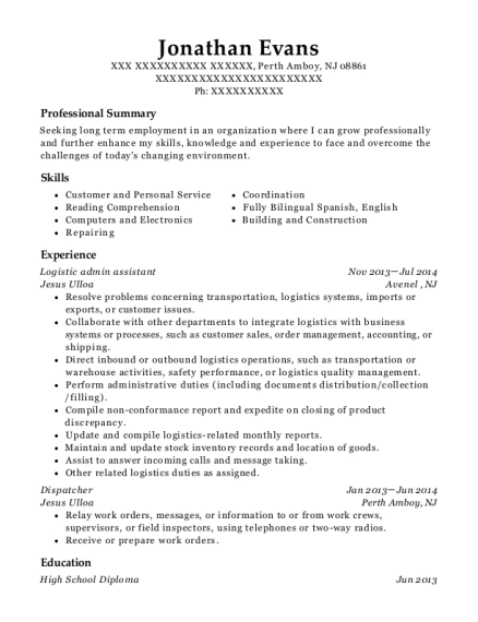 Logistic admin assistant resume sample New Jersey