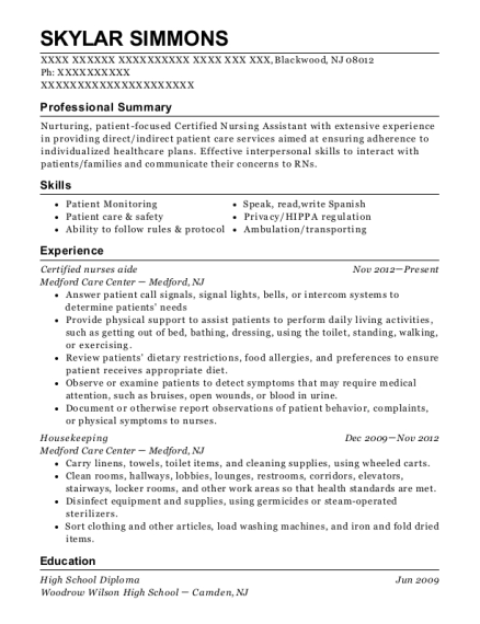 Certified nurses aide resume example New Jersey