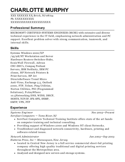 Systems Engineer resume sample New Jersey