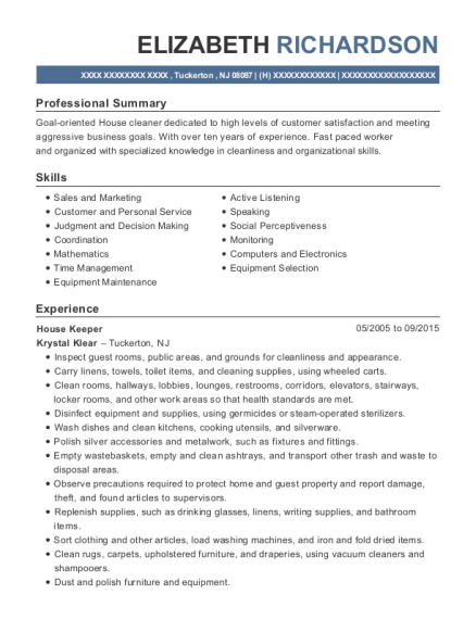 House Keeper resume example New Jersey