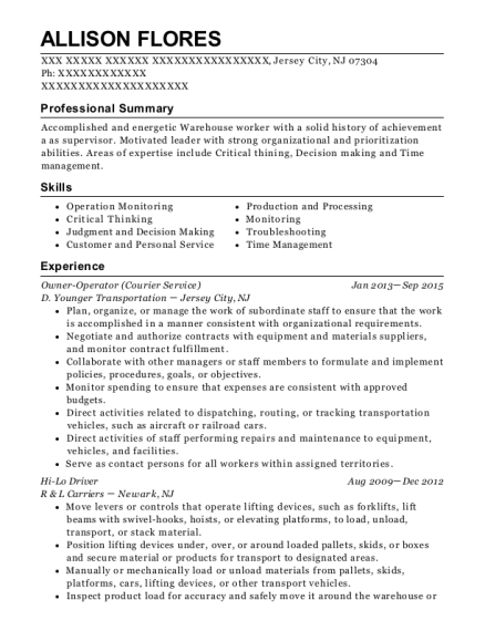 Owner Operator resume format New Jersey