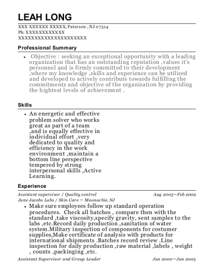 Assistant supervisor resume template New Jersey